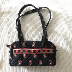Black Padded Floral Shoulder Purse Bag
